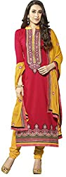 Vaidehi Fashion Yellow And Red Dress Material
