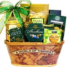 A Worlds of Thanks Gourmet Food and Snacks Gift Basket