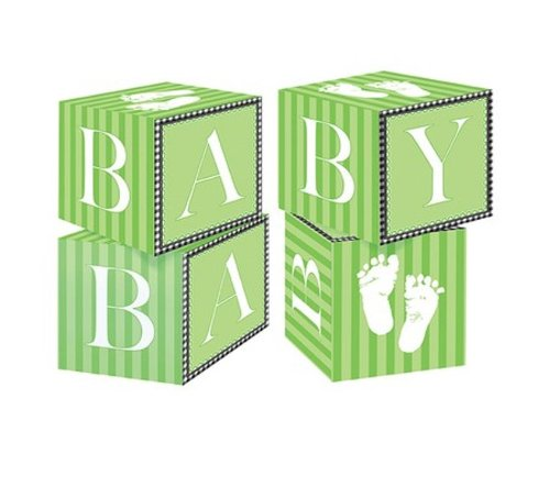 Creative Converting Sweet Baby Feet Green Centerpiece Blocks
