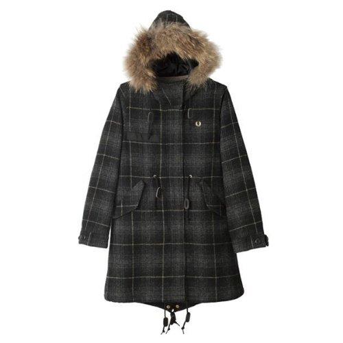 フレッドペリー FRED PERRY F6171 07 Black Vinyl Women Moon Tweed Mods Coat BLACK /総裏モッズコート/アウター/ジャンパー