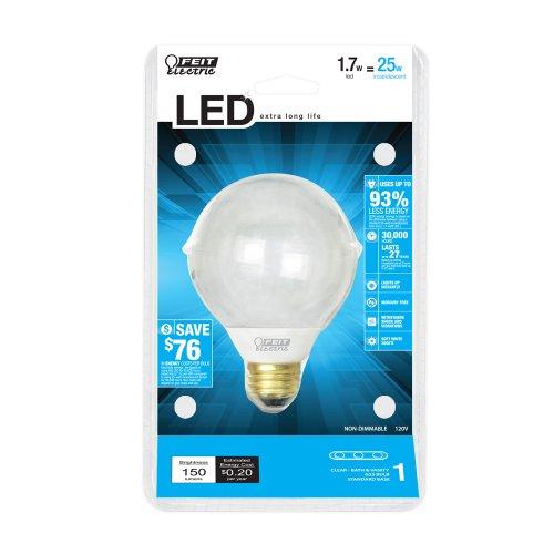 Feit Electric Bpg25/Cl/Led Accent Led G25 Globe Bulb, (Clear)