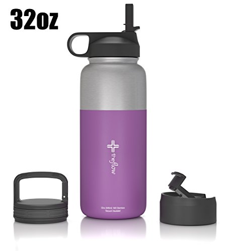 The Flow Stainless Steel Water Bottle, Double Walled/Vacuum Insulated - BPA/Toxin Free - Wide Mouth with Straw Lid (Stainless Purple) (Football Water Bottles Pack compare prices)