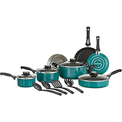 Tramontina 15-Piece Non-stick Teflon Contraction and Teal-colored Porcelain Cookware Set