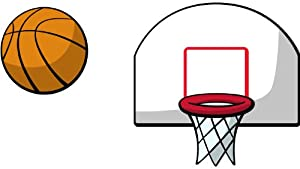 Basketball and Hoop 2 Piece 3D Cartoon Wall Art - Wall Decor Stickers