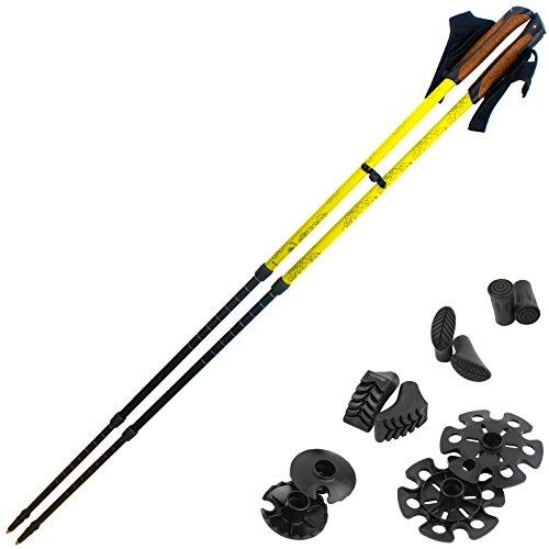 Bastoni telescopici Power Walker 2.0 Le Bastone Trekking d'alluminio con sistema Anti-Shock di vari colori di BB Sport, Colore:sunny yellow