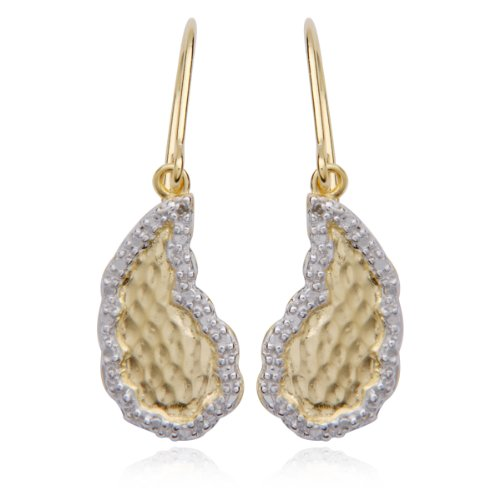 18k Yellow Gold Plated Sterling Silver Diamond-Accent Textured Wire Earrings
