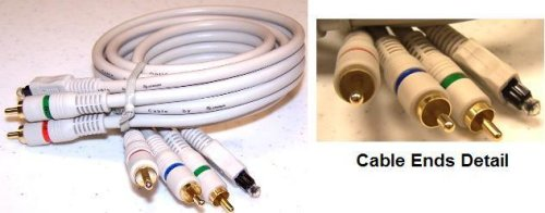 Steren Python - Video / digital audio cable (optical) - component video / digital audio - RCA, TOSLINK (M) - RCA, TOSLINK (M) - 3 ft - double shielded - ( RG-59 ) - satin ivory