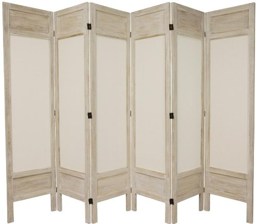 Great Quality Rustic Design Room Divider - 5.5ft. Solid Frame Muslin Fabric Folding Privacy Screen- 6 Panel Distressed White