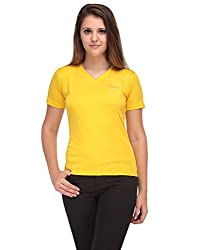 Oleva Ladies V Neck Yellow T-shirt OTS-4-yellow L