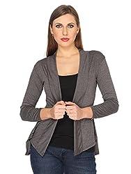 Ten on Ten Women's Cotton Viscose fabric Grey Shrug