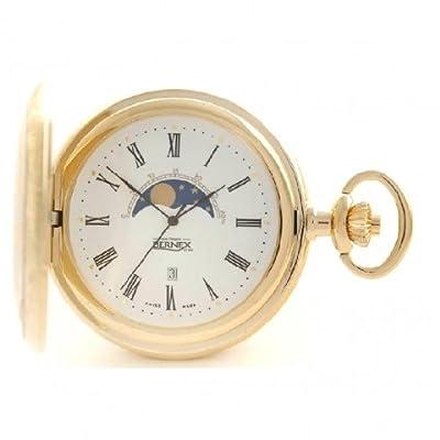 Bernex Pocket Watch GB21116 Gold Plated Half Hunter Moon Phase