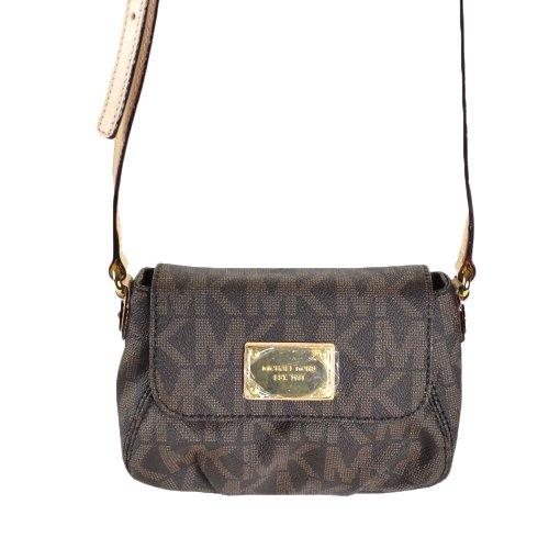 Michael Kors Mk Signature Pvc Small Flap Crossbody Bag - Brown