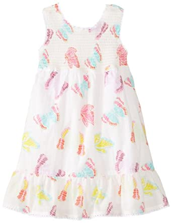 Egg by Susan Lazar Little Girls' Voile Smocked Dress With Ruffle Hem, White, 4T
