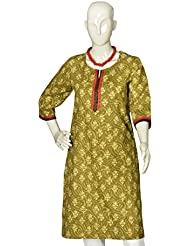 Artisan Crafted 3/4th Sleeve Cotton Kurta With Floral Print(Shades Of Green)