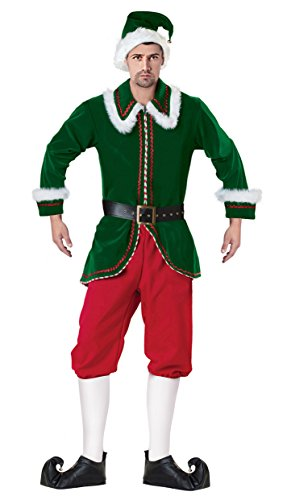 50d3fdfd0fd Killreal Men s Deluxe Funny Elf Velvet Plus Size Christmas Costume  Green-Red Large
