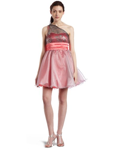 Xoxo Juniors One Shoulder Lace Party Dress, Pink, 5