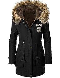 American Trend Women's Faux Fur Lined Hooded Outdoor Winter Parka Coats Long Jacket