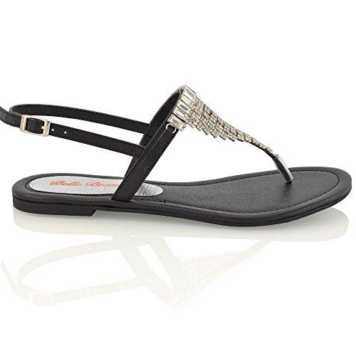 Essex Glam Sandalo Donna Nero Infradito con Cinturino Posteriore Finto Diamante Effetto Scintillante EU 39