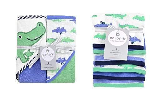 Carter's 2-Pack Alligator Hooded Towels and 6-Pack Wash Cloth Bundle (Hooded Towels Carters compare prices)