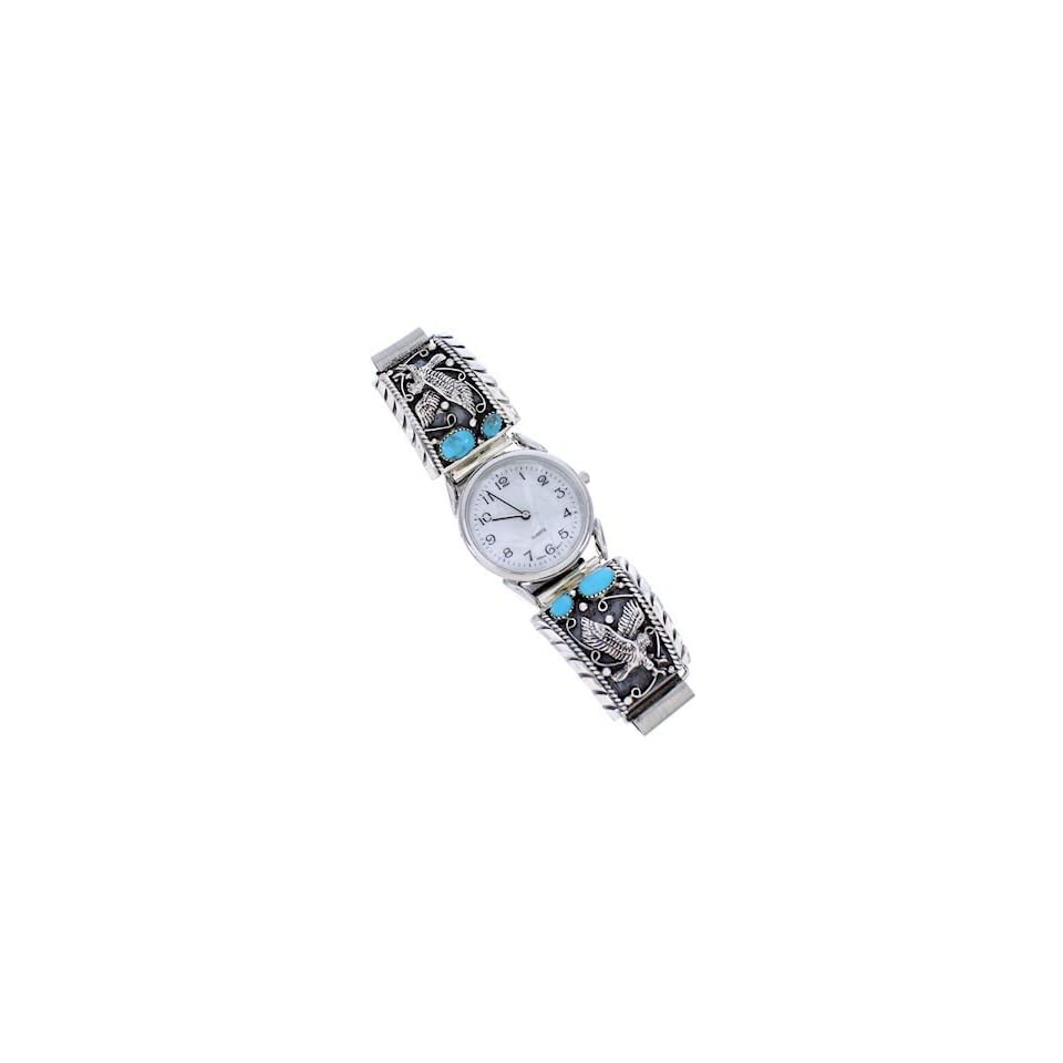 Southwestern Sterling Silver Turquoise Eagle Watch PS71644