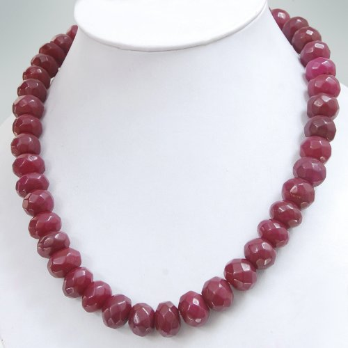 Single Strand Elegant Natural Faceted Red Ruby Beaded Necklace