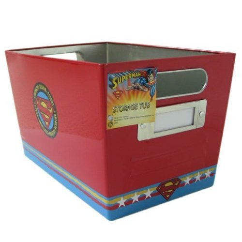 DC Comics Superman themed Storage Tub - Tin Storage Box bin - CLEARANCE SALE PRICED