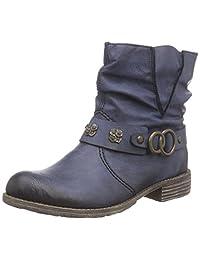 Rieker Women's Blue Kitten Heel Ankle Boot