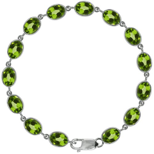 Stunning Ladies Solid Sterling Silver Gemstone Bracelet 7.5 inches long set with natural Peridot