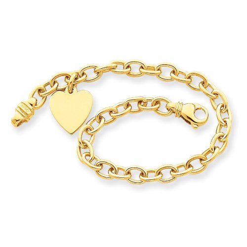 14k Yellow Gold Link w/ Heart Charm Bracelet.