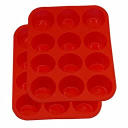 2 Pack - Muffin Pan,12 Cups Silicone Cupcake Baking Tray by Suntake