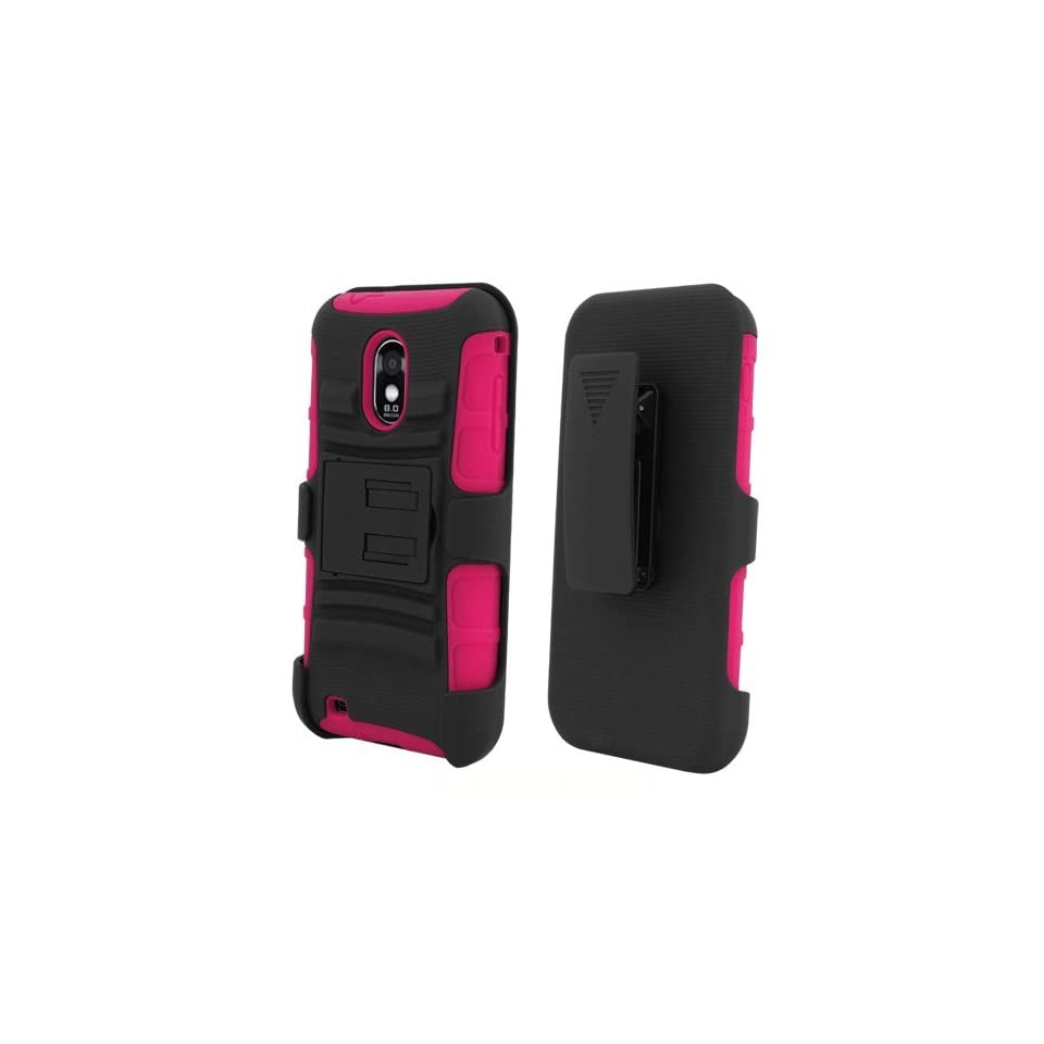 [ManiaGear] Hot Pink/Black Combat Heavy Duty Case for Samsung Galaxy S II R760/D710 Epic Touch 4G + ManiaGear Screen Protector (U.S Cellular/Sprint/Alltel/Boost Mobile)