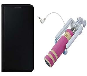 Novo Style REDMI 3S PLUS Premium PU Leather Quality Black Flip Cover+ Wired Selfie Stick No Battery Charging Premium Sturdy Design Best Pocket SizedSelfie Stick