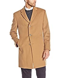 Kenneth Cole New York Men\'s Kenneth Cole Reaction Raburn 38 Inch Wool Top Coat Single Breasted, Camel, 44/Small