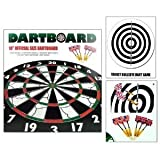 18â 2-SIDED OFFICIAL SIZE PUB DARTBOARD DART BOARD WITH 6 FLOCKED BRASS DARTS
