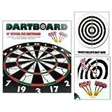 18â 2-SIDED OFFICIAL SIZE PUB DARTBOARD DART BOARD WITH 6 FLOCKED BRASS DARTS
