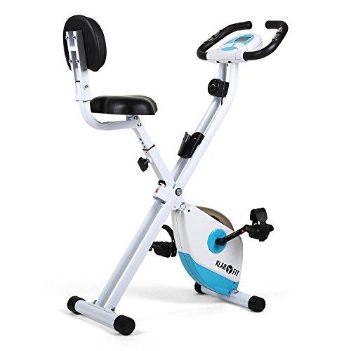 Klarfit X-Bike 700 Cyclette richiudibile ripiegabile (display per allenamento, misurazione pulsazioni, regolabile 8 livelli) bianco / turchese