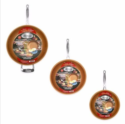Gotham Steel 3-Piece Nonstick Frying Pan Set - 3 Sizes - 9.5