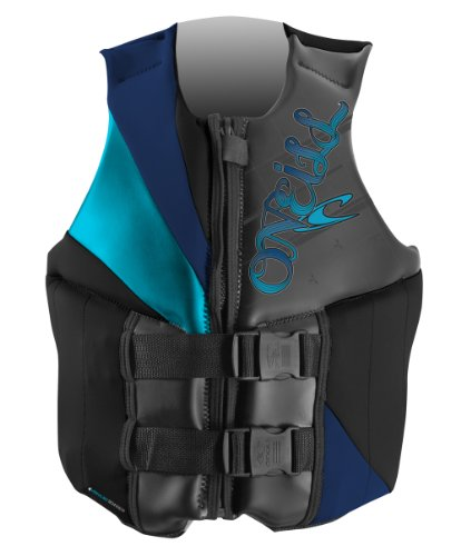 O'Neill Wetsuits Women's Money USCGA Vest  (Black/Navy/Turquoise, 8)