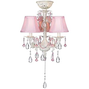 Pretty-in-Pink Pull-Chain Ceiling Fan Light Kit