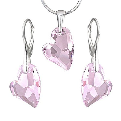 SILV ego Parure di gioielli con cristalli Swarovski Crystals Heart Devoted 2U rosa Line argento orecchini e ciondolo in argento 925