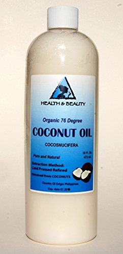 Coconut Oil 76 Degree Organic Carrier 100% Pure Cold Pressed 32 Oz