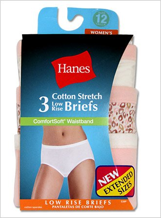 Hanes Women's Plus Low-Rise Stretch Brief Panties with ComfortSoft® Waistband 3-Pack, 11-Assorted
