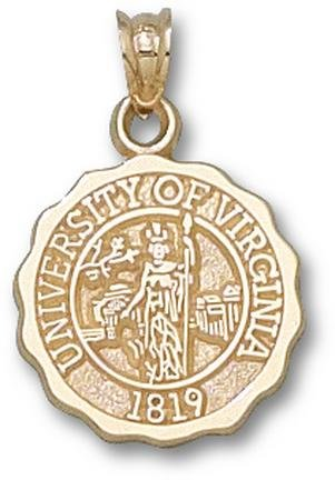 Virginia Cavaliers Official Seal Pendant - 14KT Gold Jewelry by Logo Art