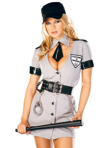 Sexy Plus Size Police Officer Corrections Officer Costume Cop Uniform 6 Pc Set