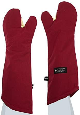 "San Jamar KT0224 Kool-Tek Nomex Conventional Temperature Protection Oven Mitt, 24"" Length, Red"