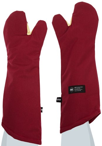 "San Jamar Kt0224 Kool-Tek Nomex Conventional Temperature Protection Oven Mitt, 24"" Length, Red front-469900"