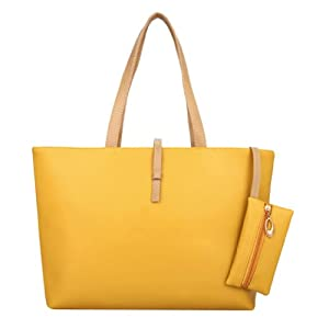 Classic Fashion Faux Leather Large Tote Bags with Coin Wallet (Yellow) by Beauty Life