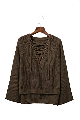 Christmas YeeATZ Green Fashion Autumn Lace Tie High-Low Hem Loose V-Neck Knit Sweater(Size,M)