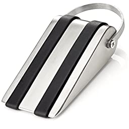 SleekStopper Decorative Stainless Steel Door Stopper with Rubber Treads and Metal Handle