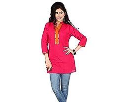 Ecostyle Women's Cotton Kurti (EMKS02_Pink_Large)